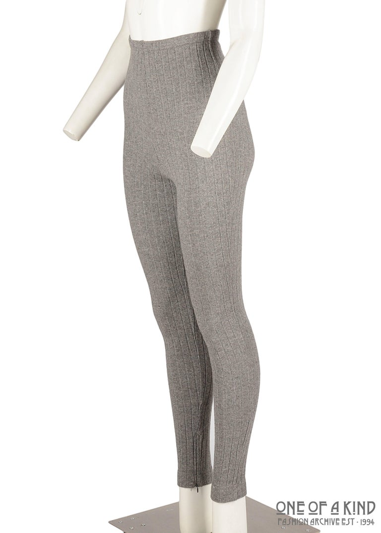 Dolce & Gabbana grey wool ribbed knit high waisted leggings.   - Zip fastening on center back seam and ankles.   ca. 1990-1999