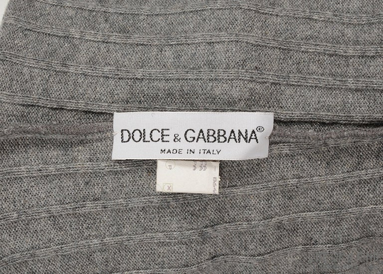 Women's Dolce & Gabbana grey wool ribbed knit high waisted leggings  For Sale