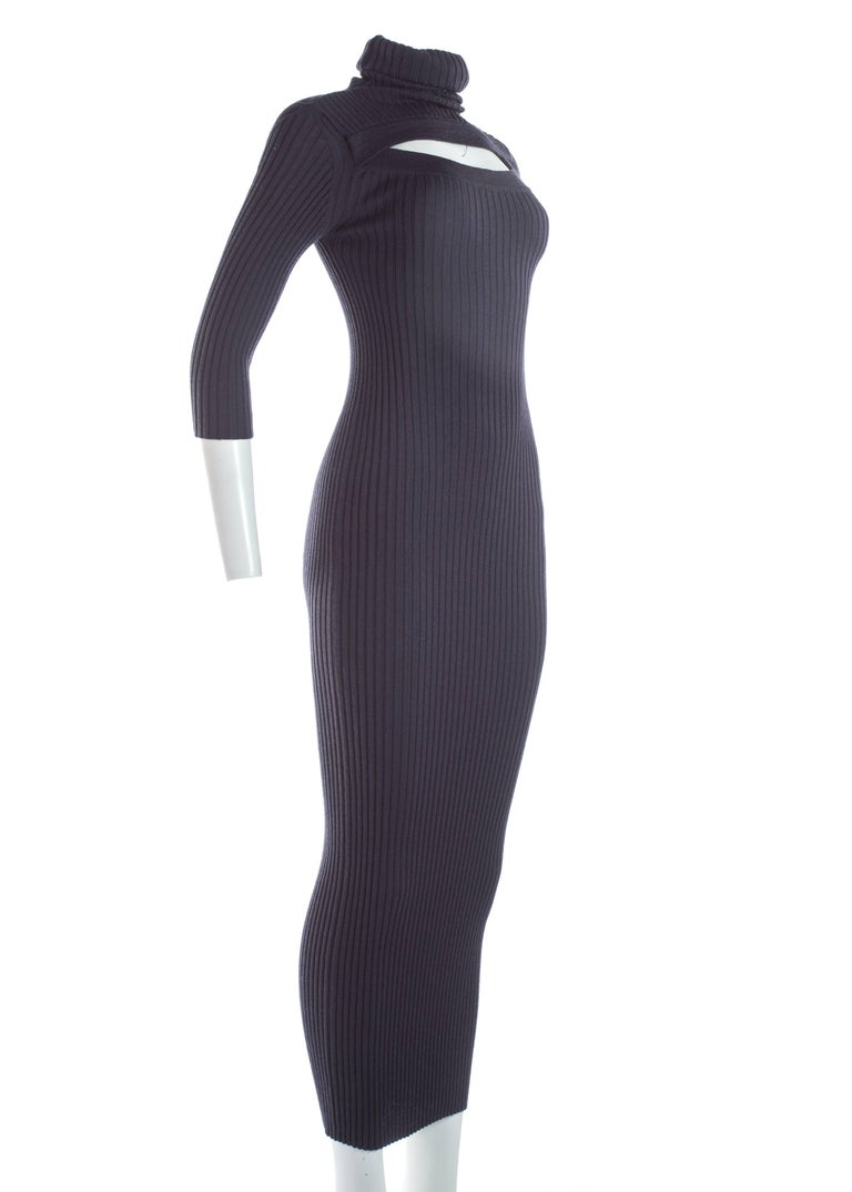 Black Jean Paul Gaultier ribbed knit bodycon maxi dress, c. 1990s For Sale