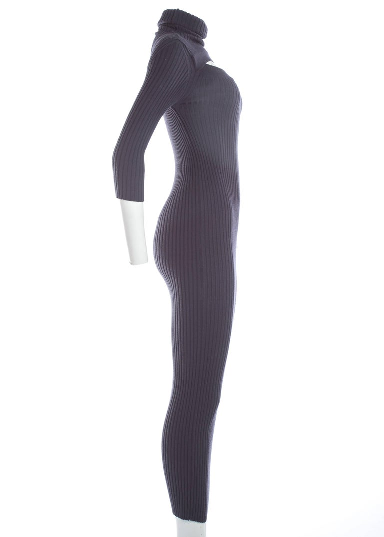 Jean Paul Gaultier ribbed knit bodycon maxi dress, c. 1990s In Excellent Condition For Sale In London, GB