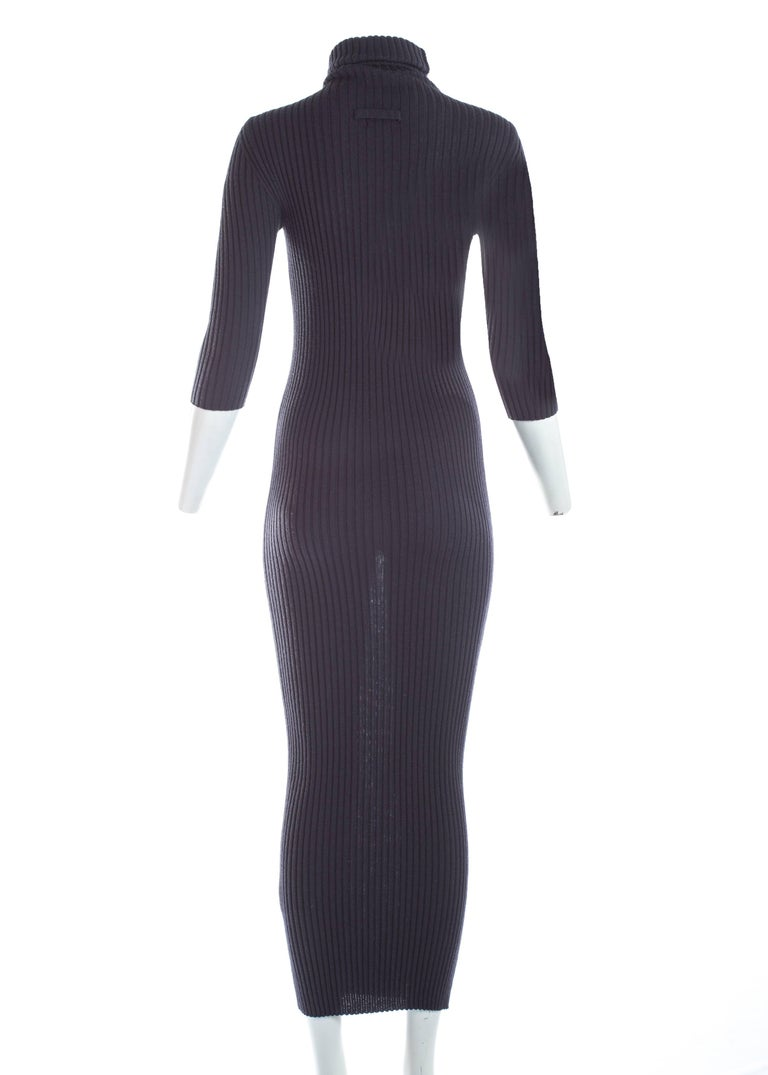 Women's Jean Paul Gaultier ribbed knit bodycon maxi dress, c. 1990s For Sale