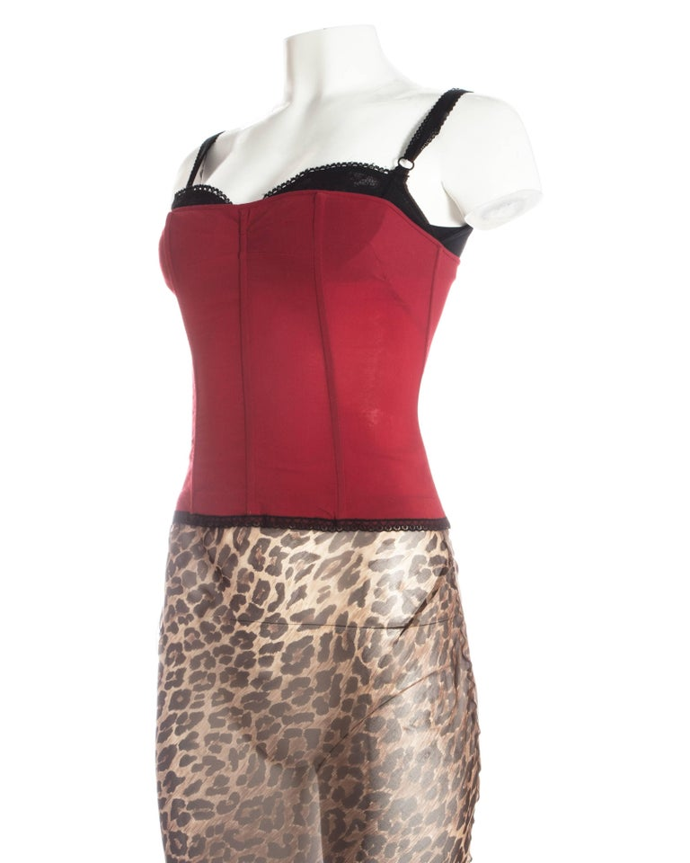 Women's or Men's Dolce & Gabbana red corset and leopard print skirt with train ensemble, A/W 1997 For Sale