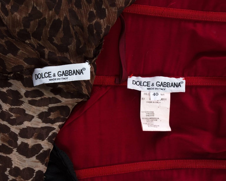 Dolce & Gabbana red corset and leopard print skirt with train ensemble, A/W 1997 For Sale 2
