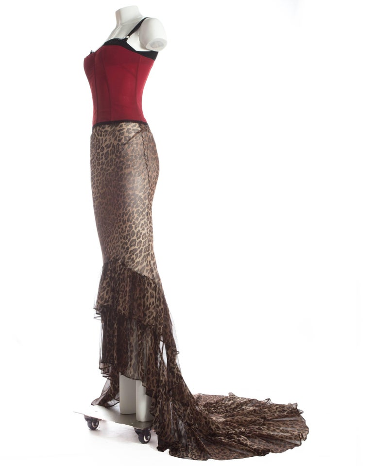 Dolce & Gabbana red corset and leopard print skirt with train ensemble, A/W 1997 For Sale 1