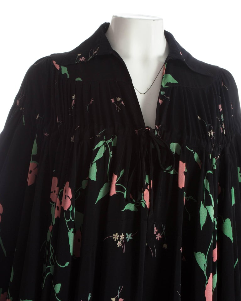 Black Ossie Clark angel sleeve gown with