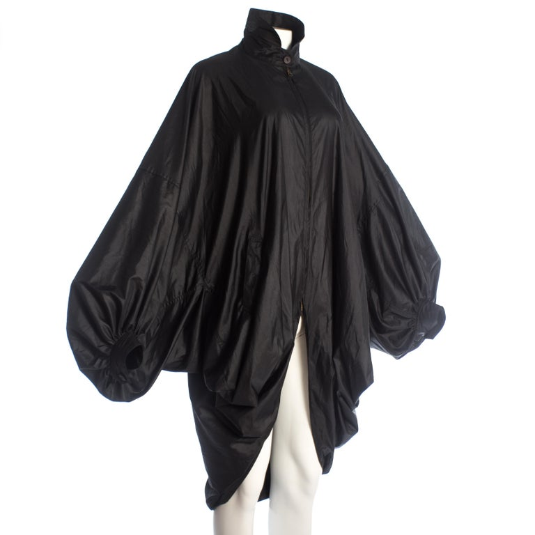 Black Issey Miyake black nylon oversized parachute jacket, A/W 1987 For Sale