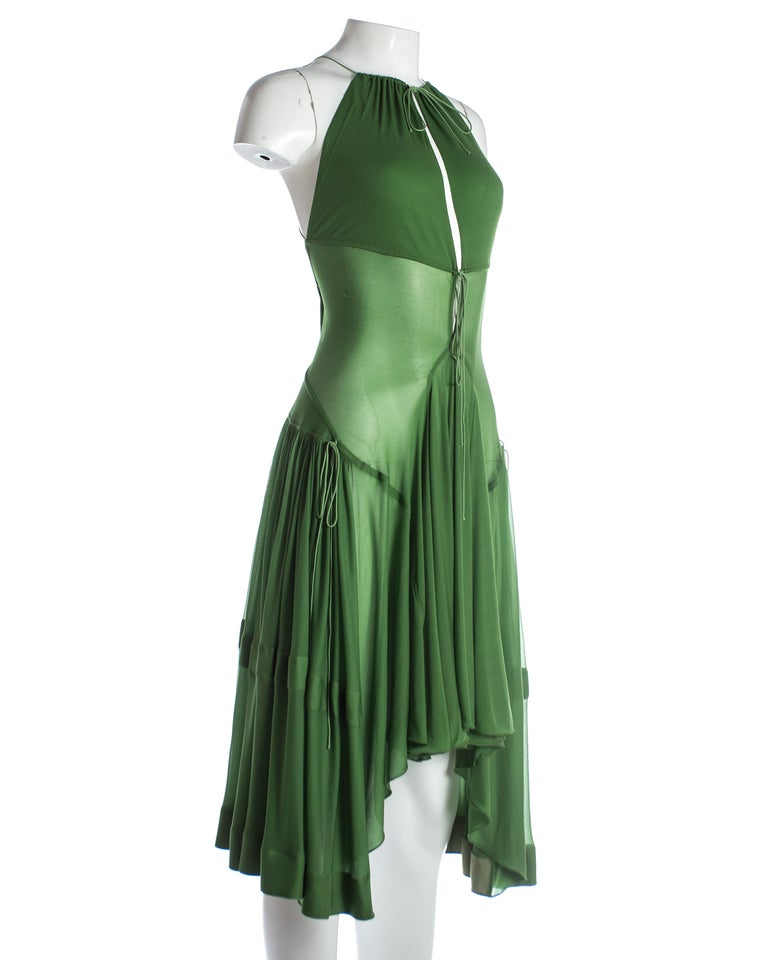 Black Azzedine Alaia green pleated backless summer dress, c. 2000-2009 For Sale