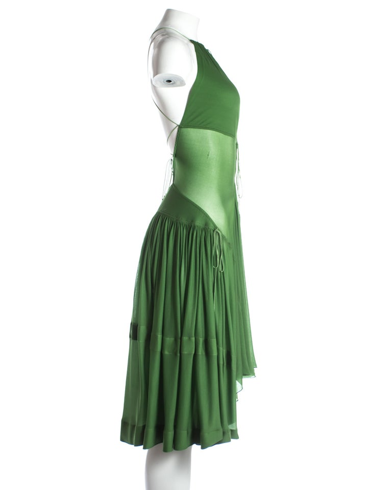 Azzedine Alaia green pleated backless summer dress, c. 2000-2009 In Good Condition For Sale In London, GB