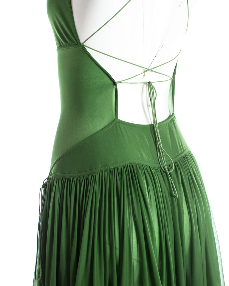 Women's Azzedine Alaia green pleated backless summer dress, c. 2000-2009 For Sale