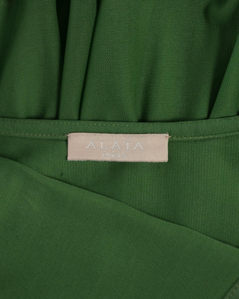 Azzedine Alaia green pleated backless summer dress, c. 2000-2009 For Sale 1