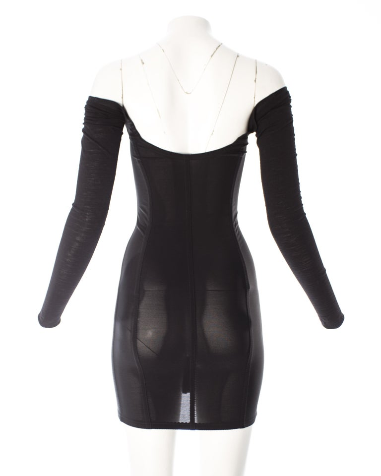 Dolce & Gabbana black jersey and spandex corseted bodycon mini dress, A / W 1989 In Good Condition For Sale In London, GB
