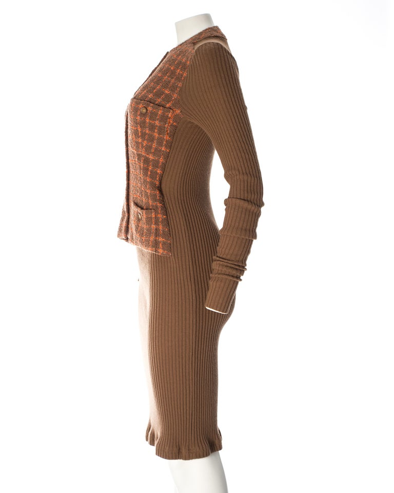 Chanel rib-knit dress with attached boucle checked jacket, A / W 1995  For Sale 1