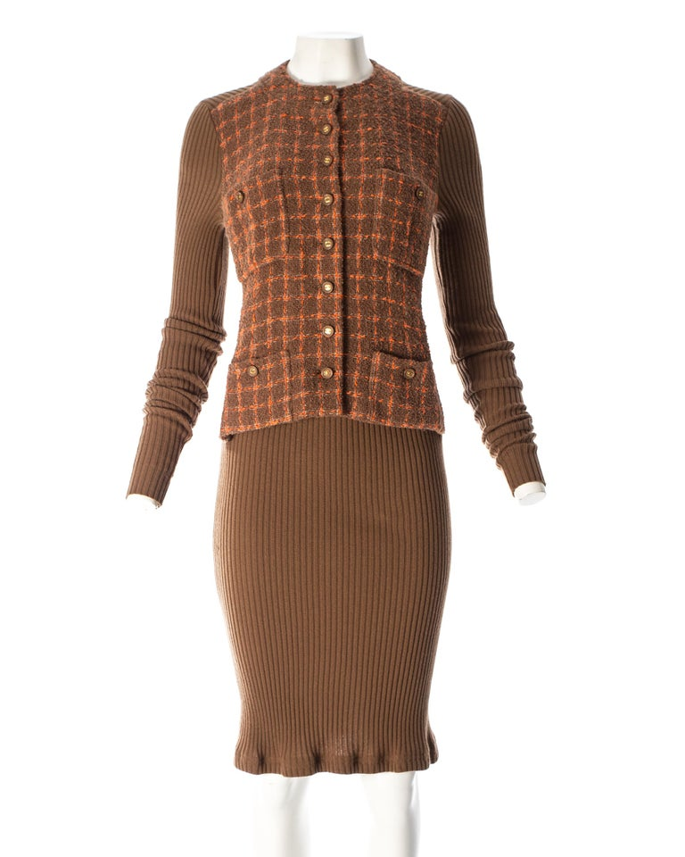 Brown Chanel rib-knit dress with attached boucle checked jacket, A / W 1995  For Sale