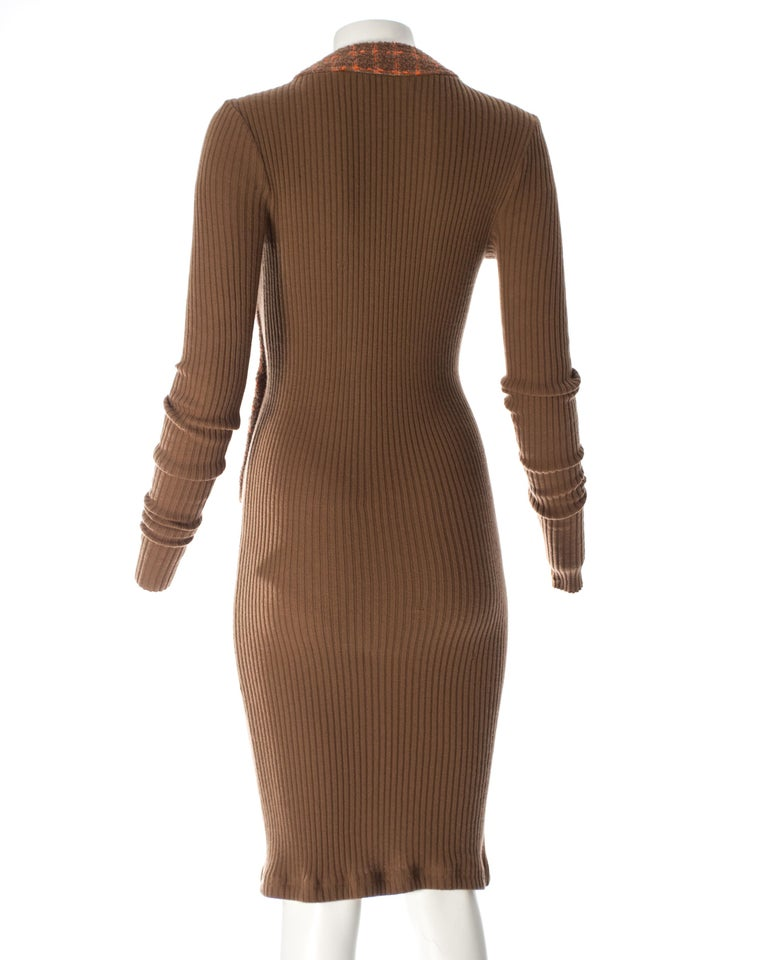 Chanel rib-knit dress with attached boucle checked jacket, A / W 1995  For Sale 2