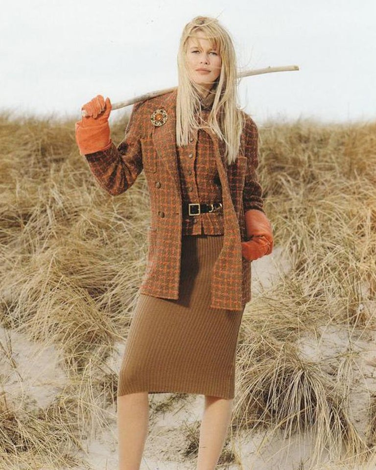 Chanel rib-knit dress with attached boucle checked jacket, A / W 1995  In Good Condition For Sale In London, GB