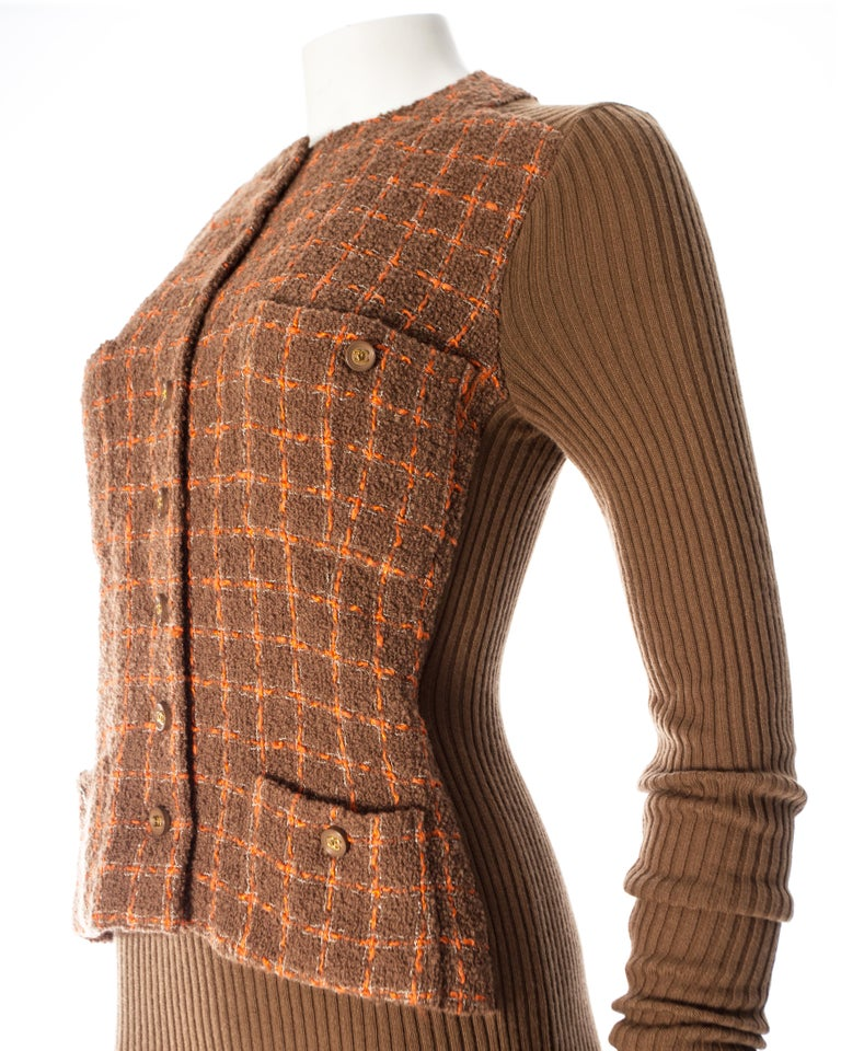 Women's or Men's Chanel rib-knit dress with attached boucle checked jacket, A / W 1995  For Sale