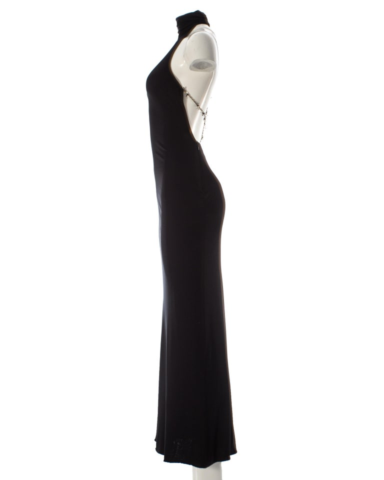 Gianni Versace black silk jersey backless evening dress, AW 1998 For Sale 3