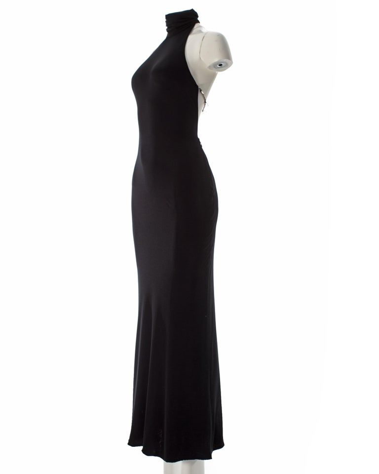 Gianni Versace black silk jersey backless evening dress, AW 1998 For Sale 1