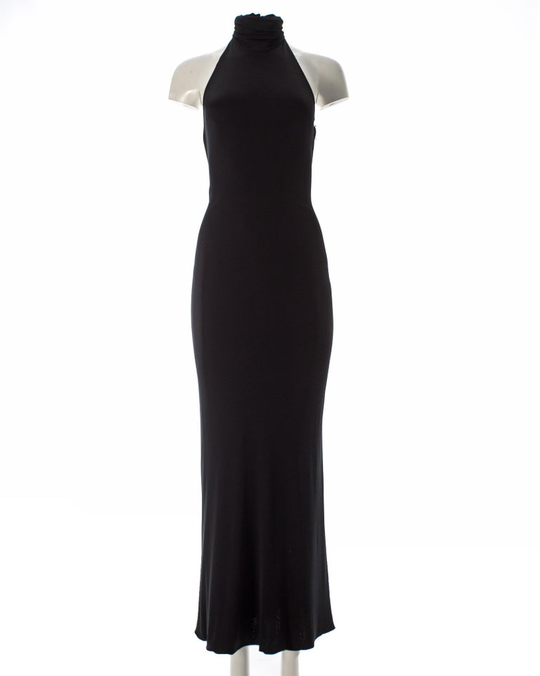 Gianni Versace black silk jersey backless evening dress, AW 1998 In Good Condition For Sale In London, GB