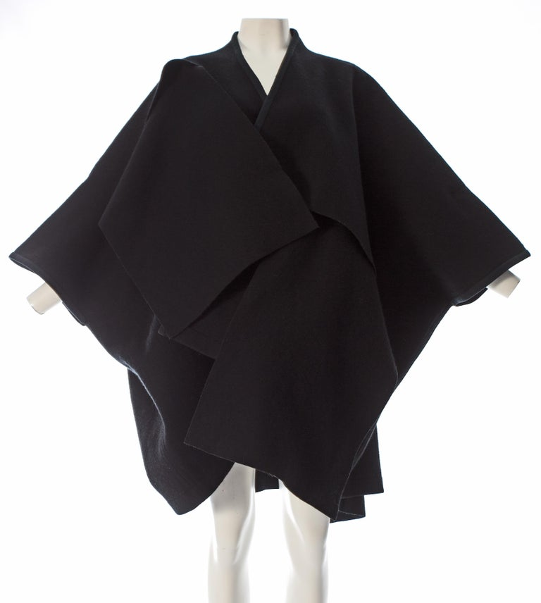Comme des Garcons black wool coat constructed from large woven panels, AW 1983 For Sale 2