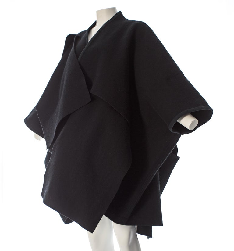 Comme des Garcons black wool coat constructed from large woven panels, AW 1983 For Sale 1