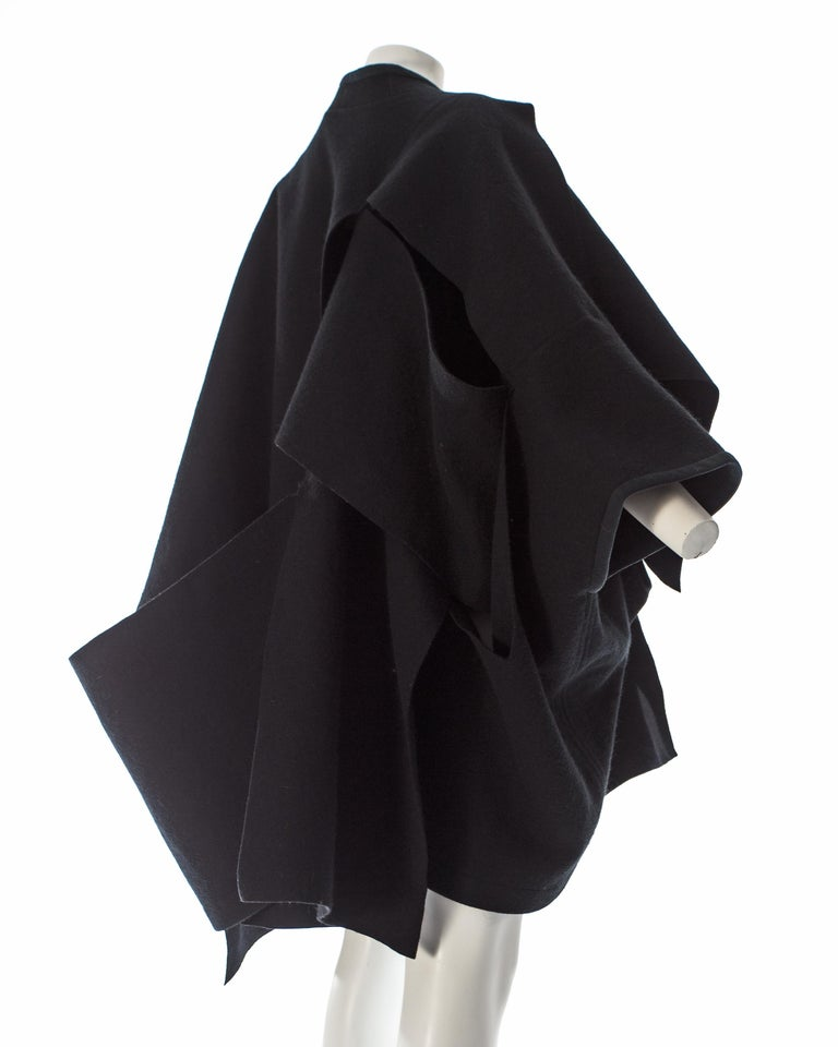 Comme des Garcons black wool coat constructed from large woven panels, AW 1983 In Excellent Condition For Sale In London, GB