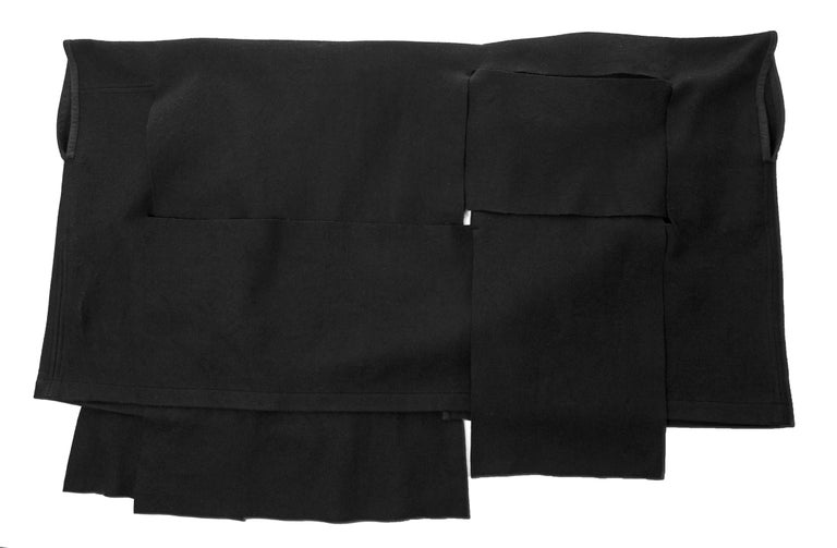 Black Comme des Garcons black wool coat constructed from large woven panels, AW 1983 For Sale