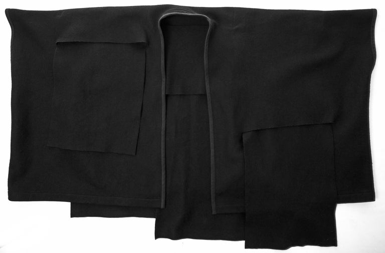 Comme des Garcons black wool coat constructed from large woven panels, AW 1983 For Sale 3