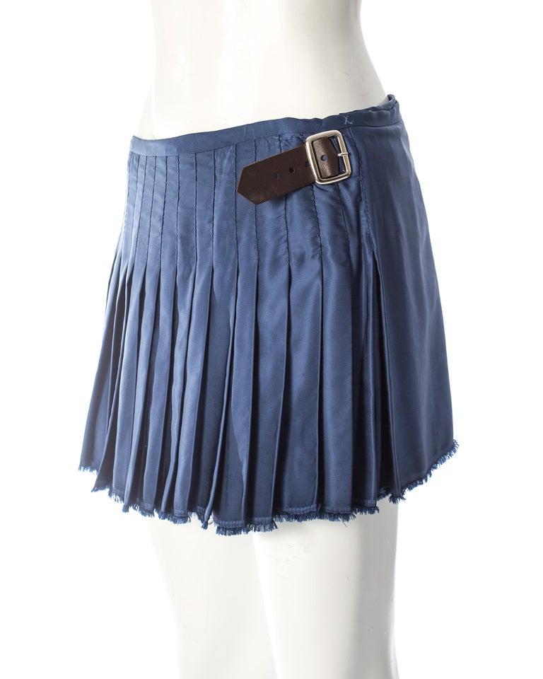 Vivienne Westwood, blue satin pleated wrap mini skirt / kilt, AW 2003 For Sale 3