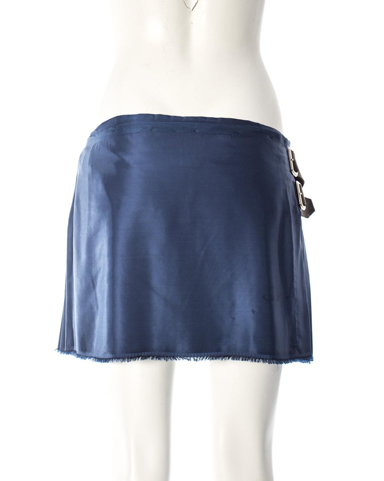 Vivienne Westwood, blue satin pleated wrap mini skirt / kilt, AW 2003 In Excellent Condition For Sale In London, GB