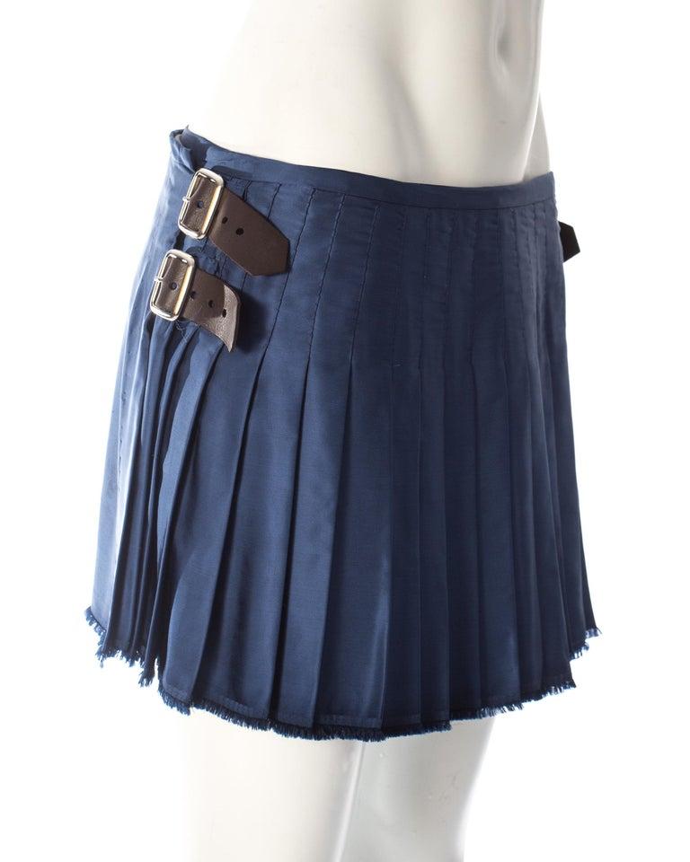 Blue Vivienne Westwood, blue satin pleated wrap mini skirt / kilt, AW 2003 For Sale