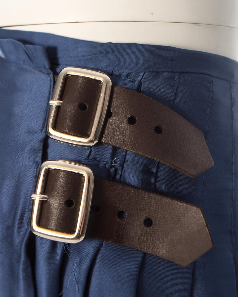 Vivienne Westwood, blue satin pleated wrap mini skirt / kilt, AW 2003 For Sale 2