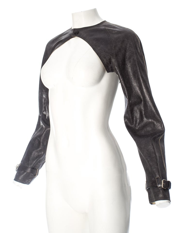Black Jean Paul Gaultier black leather cropped jacket, S/S 2001 For Sale