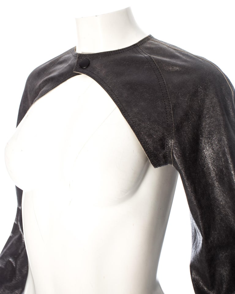 Jean Paul Gaultier black leather cropped jacket, S/S 2001 In Excellent Condition For Sale In London, GB
