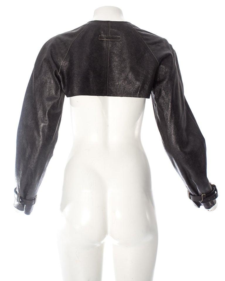 Women's Jean Paul Gaultier black leather cropped jacket, S/S 2001 For Sale