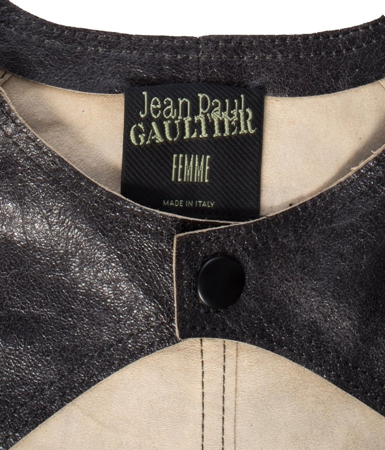 Jean Paul Gaultier black leather cropped jacket, S/S 2001 For Sale 2