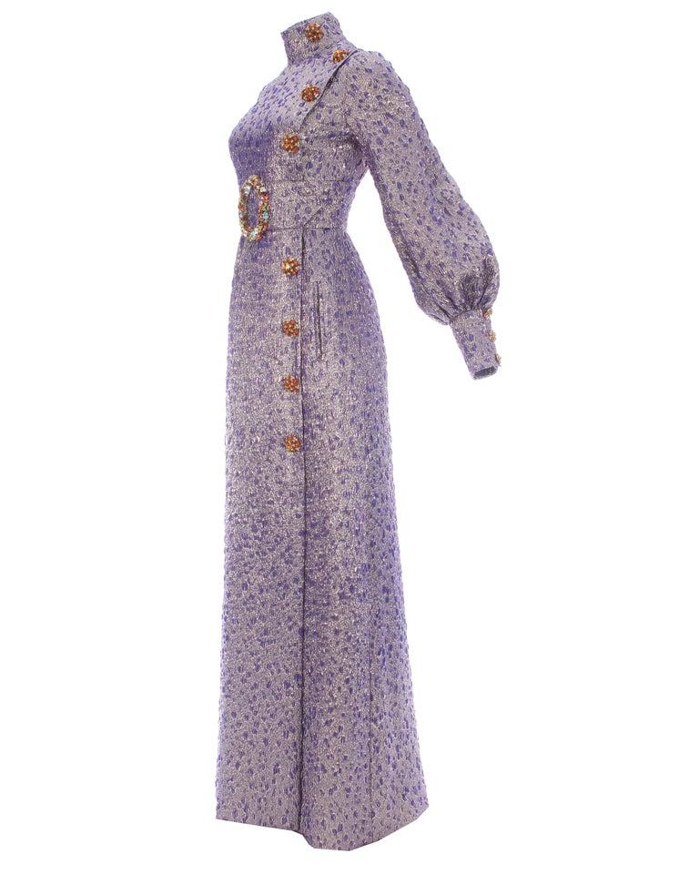 Women's Jean Louis Scherrer haute couture purple lame brocade evening gown, f/w 2005 For Sale