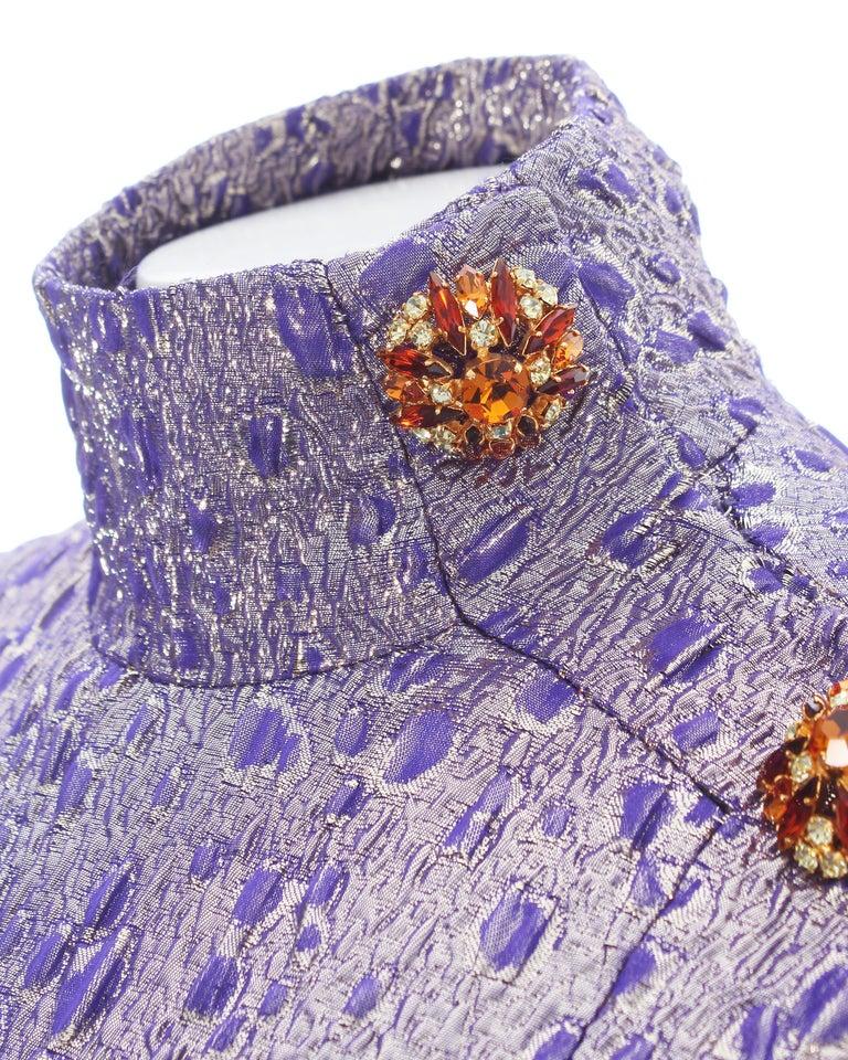 Jean Louis Scherrer haute couture purple lame brocade evening gown, f/w 2005 For Sale 2