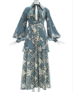 Ossie Clark cotton and silk chiffon 3 piece ensemble, c. 1969