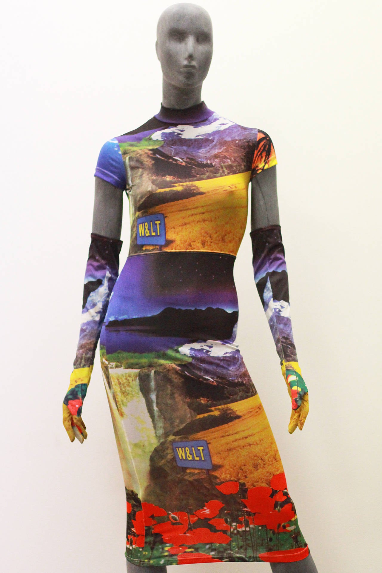 1990s Walter Van Beirendonck Body Con Dress and Gloves (W.&.L.T.) In Excellent Condition For Sale In London, GB