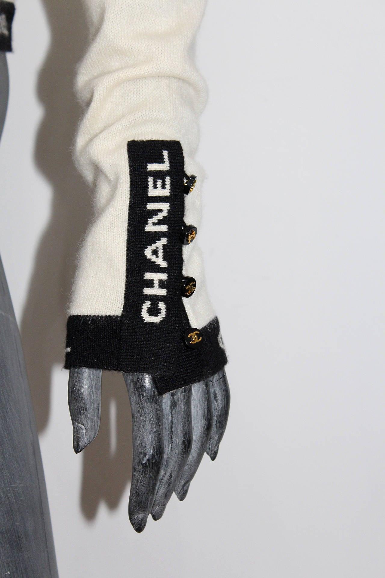 Iconic Vintage Chanel Logo Cashmere Cardigan 3