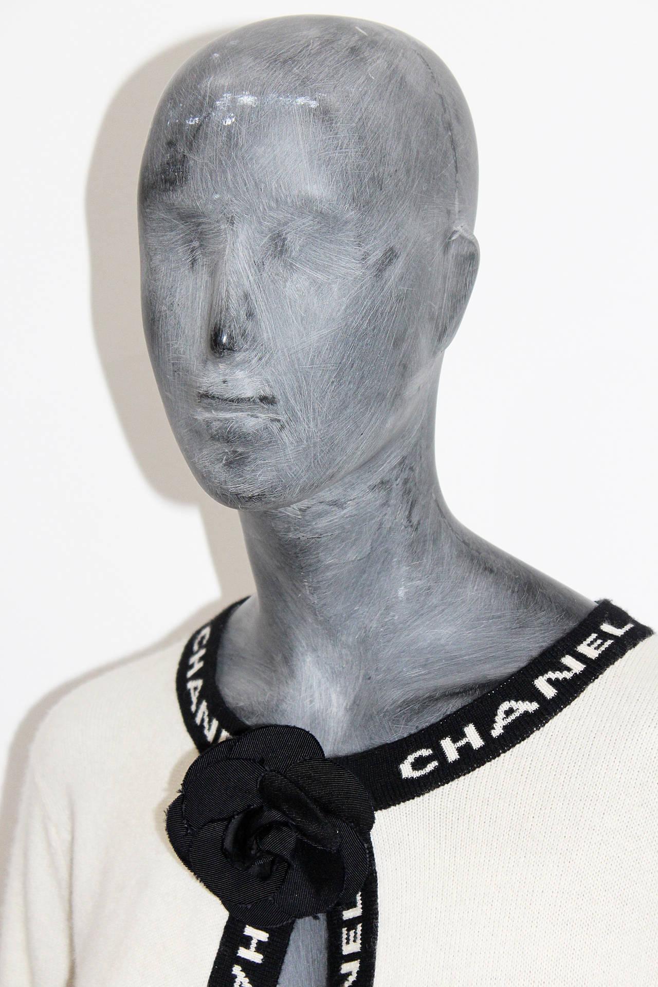 Iconic Vintage Chanel Logo Cashmere Cardigan 4