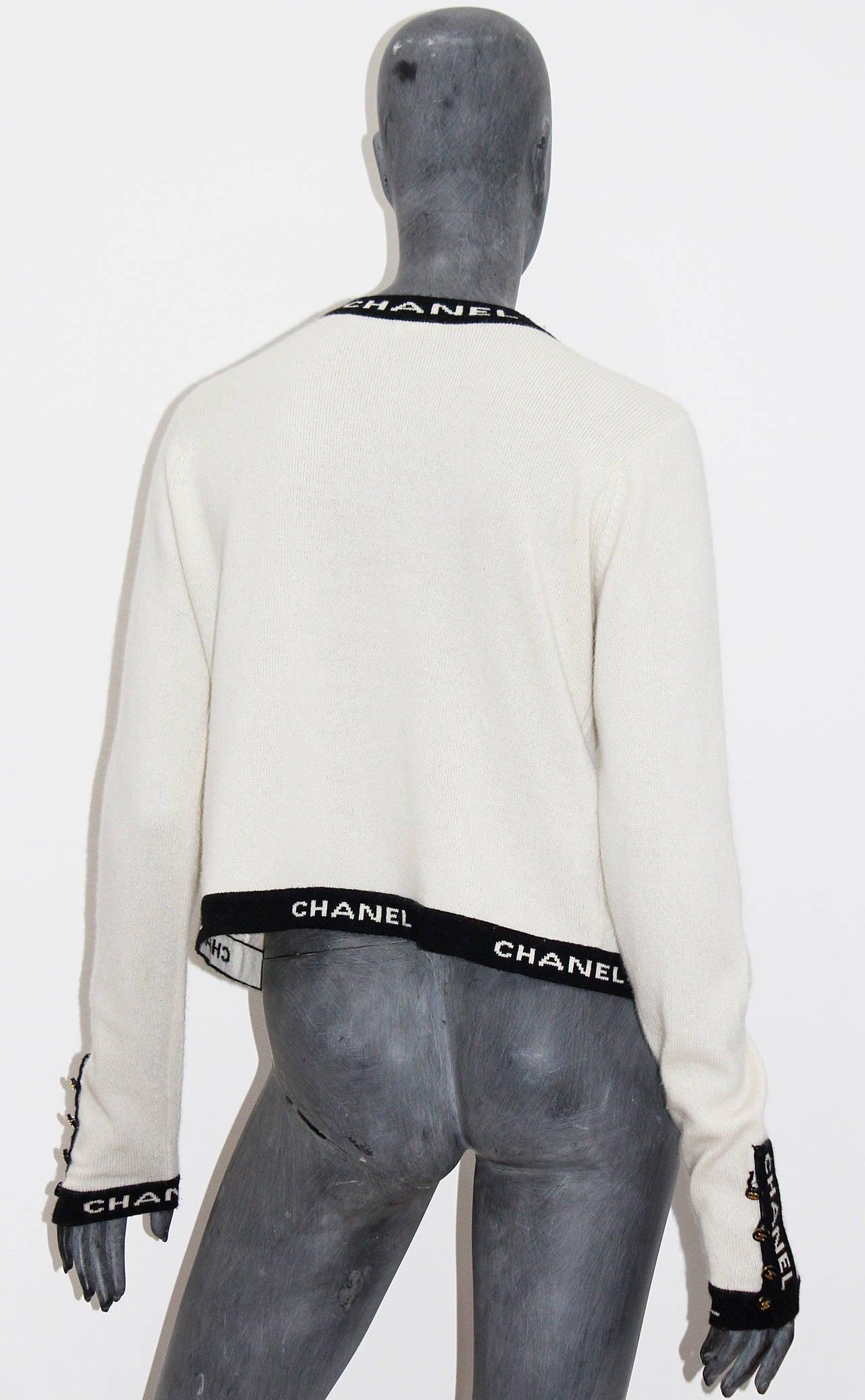 Iconic Vintage Chanel Logo Cashmere Cardigan 5