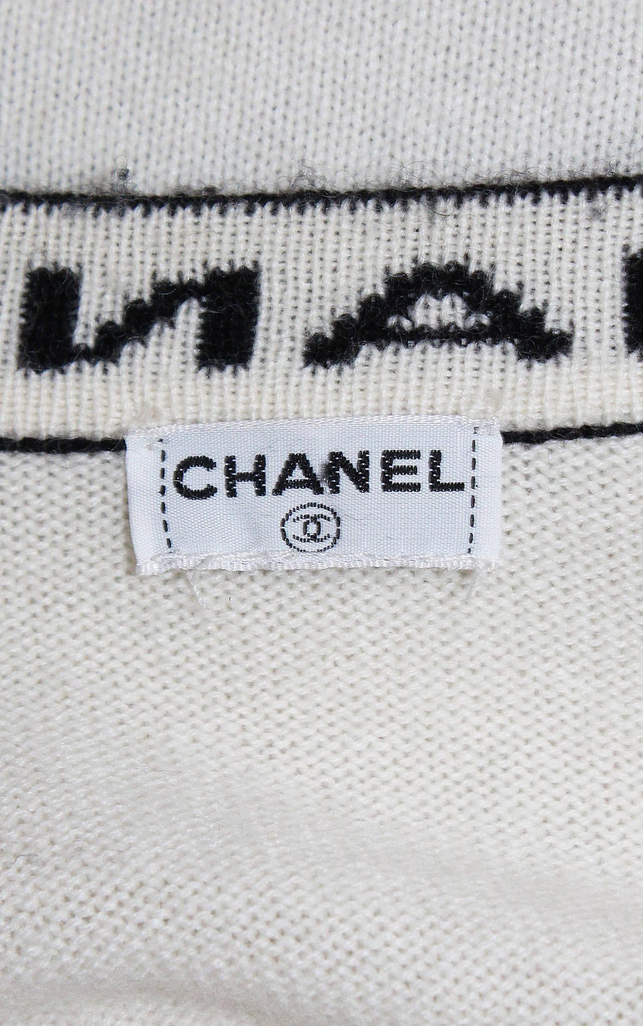 Iconic Vintage Chanel Logo Cashmere Cardigan 7