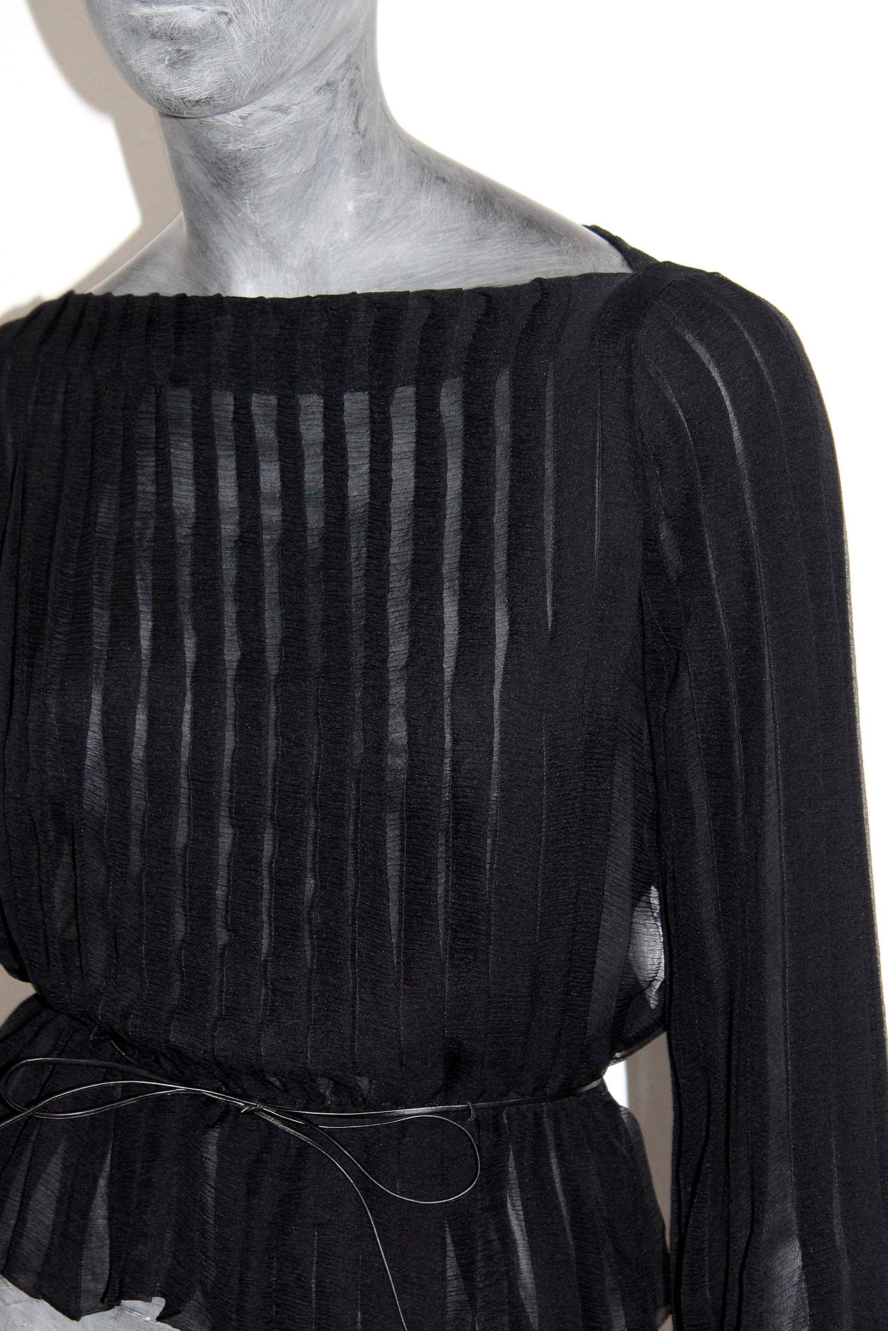 Tom Ford for Gucci Pleated Silk Chiffon Blouse 4