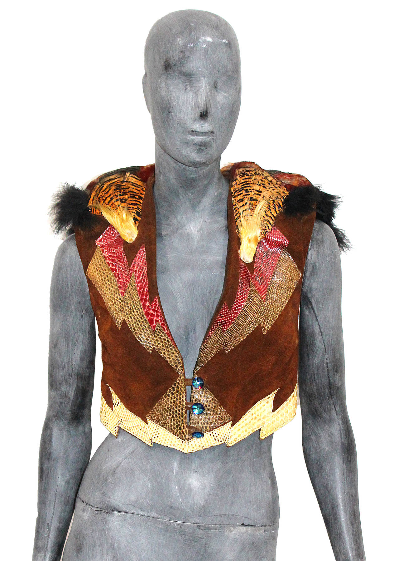 Fine and rare 1970s glam rock feathered waistcoat 2