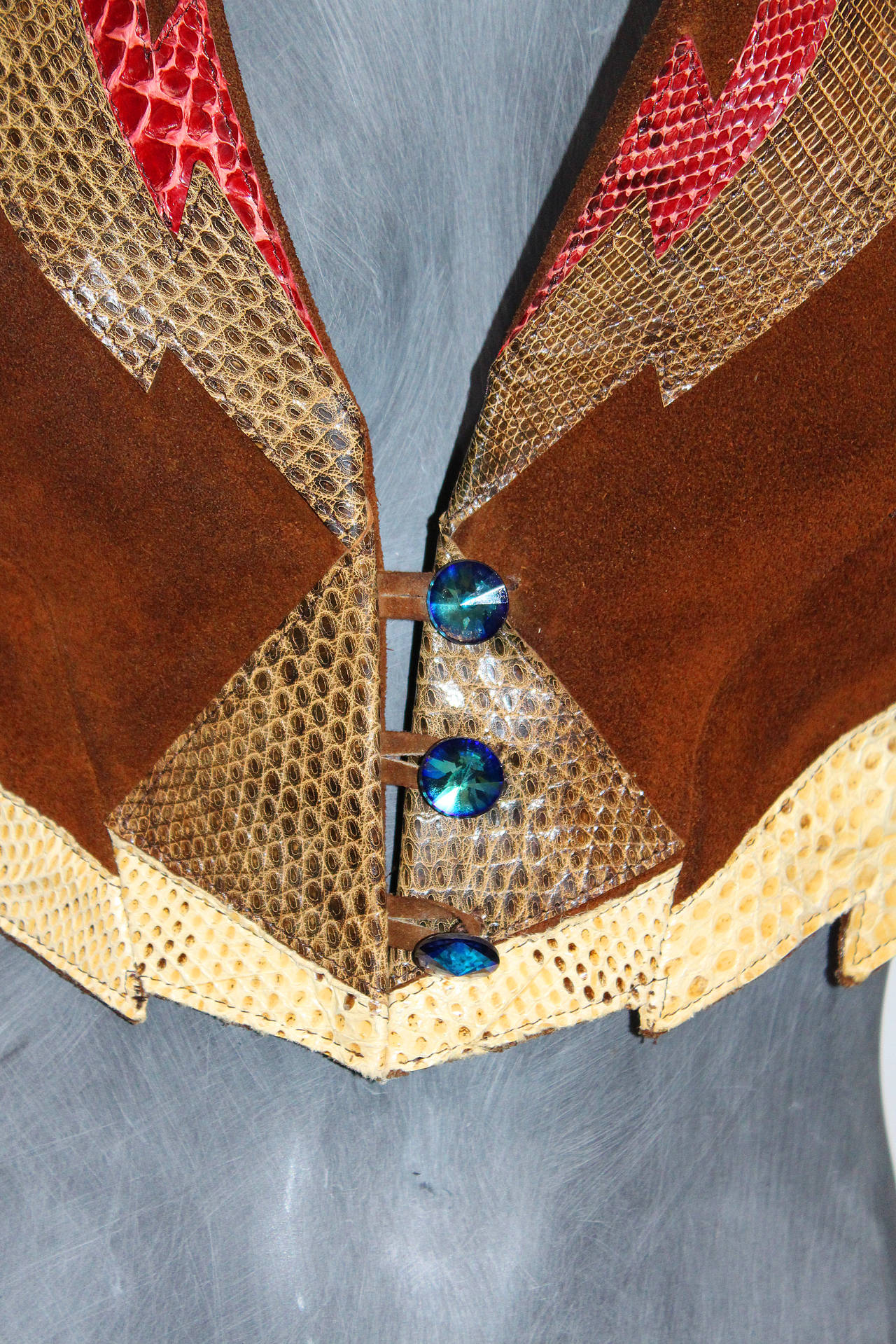 Fine and rare 1970s glam rock feathered waistcoat 3