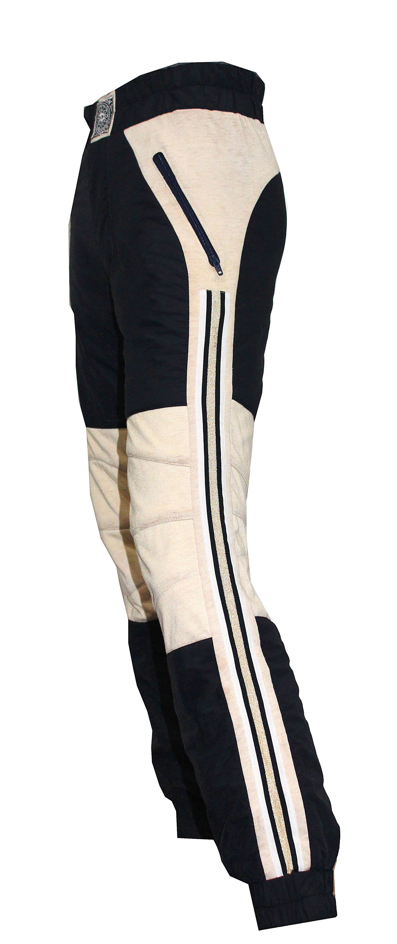 Black Rare 1980s BODY MAP padded sports trousers For Sale