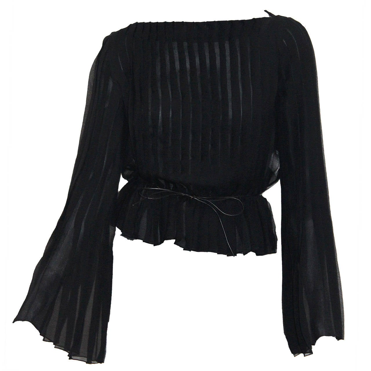 Tom Ford for Gucci Pleated Silk Chiffon Blouse For Sale