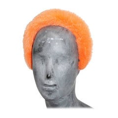 1960s Orange Mink Fur Hairband